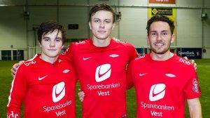 Marius Bildøy, Norman Misje Roman og Viljar Birkeland etter trening med A-laget torsdag 11. januar.