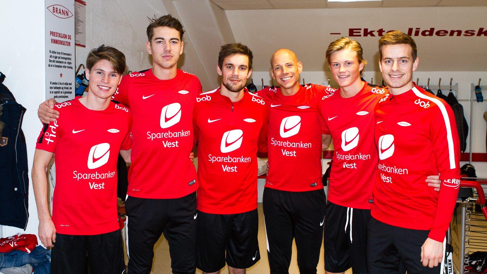 Prøving: Kasper Skaanes, Fredrik Pallesen Knudsen, Remi Johansen, Ruben Kristiansen, Halldor Stenevik og Jonas Grønner prøver ut nytt Nike-treningstøy.